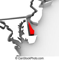mappa, unito, astratto, delaware, stati, stato, america, rosso, 3d