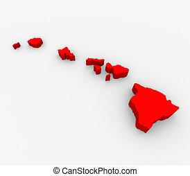 mappa, unito, astratto, hawai, stati, stato, america, rosso, 3d