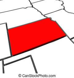 mappa, unito, astratto, kansas, stati, stato, america, rosso, 3d