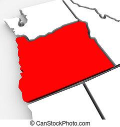 mappa, unito, astratto, oregon, stati, stato, america, rosso, 3d