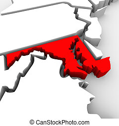 mappa, unito, astratto, stati, stato, maryland, america, rosso, 3d