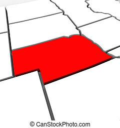 mappa, unito, astratto, stati, stato, nebraska, america, rosso, 3d