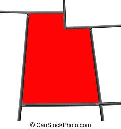 mappa, unito, astratto, utah, stati, stato, america, rosso, 3d