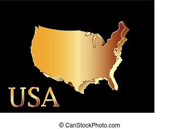 mappa, unito, dorato, u.s.a, stati, america., 3d