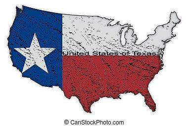 mappa, unito, grunged, stati, bandiera, texas