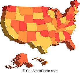 mappa, unito, stati uniti, federale, diviso, states., illustrazione, stati, vettore, america, 3d