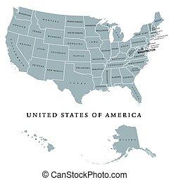 mappa, unito, stati uniti, politico, stati, america