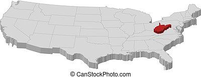 mappa, unito, virginia ovest, evidenziato, stati