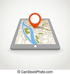 mappa urbana, aggeggio, moderno, prospettiva, astratto