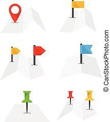 mappa urbana, astratto, piegato, isolato, appartamento, bandiere, collezione, disegno, white.