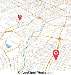 mappa urbana, astratto, vettore, prospettiva, vista
