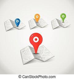 mappa urbana, colorare, astratto, piegato, collezione, piolini
