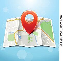 mappa urbana, con, pennarello, vettore, icona