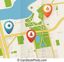 mappa urbana, icone, illustrazione, vettore, gps