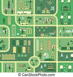 mappa urbana, seamless, modello
