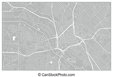 mappa urbana, vettore, dallas