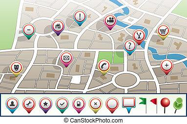 mappa urbana, vettore, gps, icone