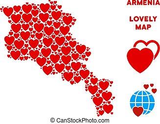 mappa, valentina, vettore, armenia, cuori, mosaico