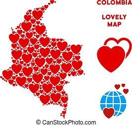 mappa, valentina, vettore, colombia, cuori, mosaico