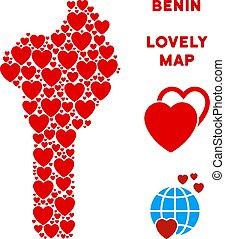 mappa, valentina, vettore, cuori, mosaico, benin