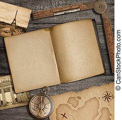 mappa, vecchio, cima, tesoro, diario, bussola, aperto, vista