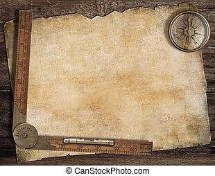 mappa, vecchio, concept., tesoro, ruler., esplorazione, fondo, bussola