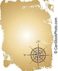 mappa, vecchio, illustrazione, carta, vettore, compass.
