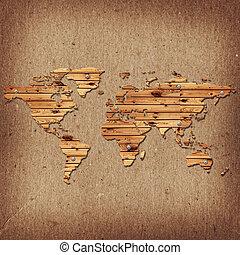 mappa, vecchio, legno, sopra, forma, scrivania, terra, cartone, backgrou