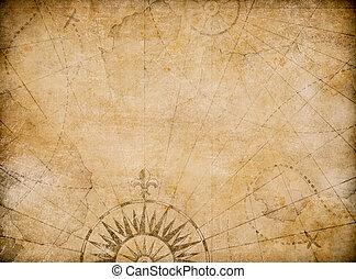 mappa, vecchio, medievale, fondo, nautico