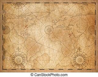 mappa, vecchio, medievale, vendemmia, nautico, mondo