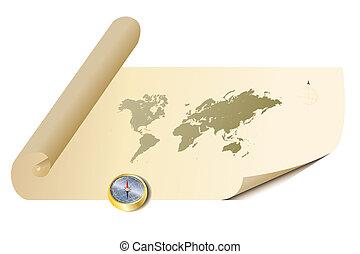 mappa, vecchio, pergamena, bussola