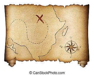 mappa, vecchio, pirates', tesoro, isolato, rotolo