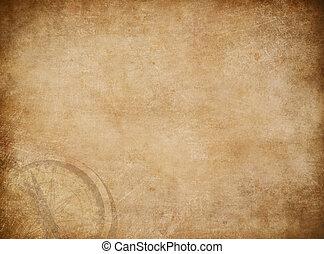 mappa, vecchio, pirati, tesoro, fondo, bussola