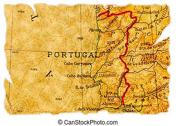 mappa, vecchio, portogallo