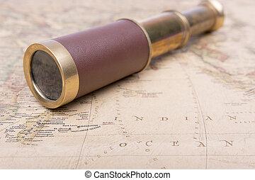 mappa, vecchio, spyglass, vendemmia