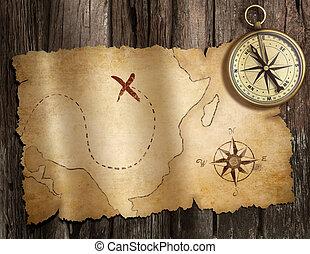 mappa, vecchio, tesoro, legno, nautico, bussola, tavola