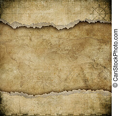 mappa, vecchio, vendemmia, carta lacerata, fondo