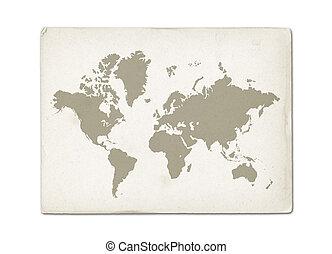 mappa, vecchio, vendemmia, carta, mondo, pergamena