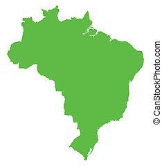 mappa verde, di, brasile