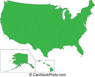 mappa, verde, stati uniti