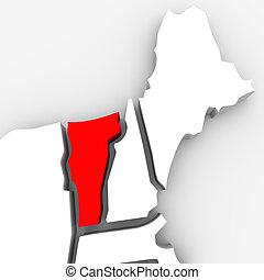 mappa, vermont, unito, astratto, stati, stato, america, rosso, 3d