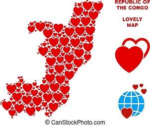 mappa, vettore, amore, congo, repubblica, cuori, composizione