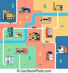 mappa, vettore, città, illustrazione