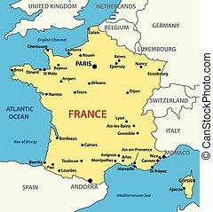mappa, vettore, -, illustrazione, francia