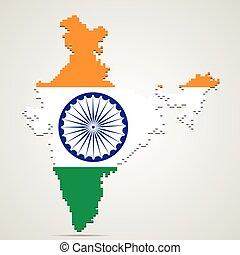 mappa, vettore, india, illustrazione, creativo