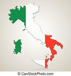 mappa, vettore, italia, illustrazione, creativo
