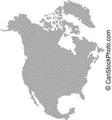 mappa, vettore, nord america