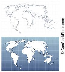 mappa, vettore, pixel, mondo, formato
