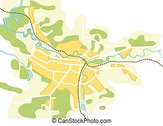 mappa, vettore, semplificato, città