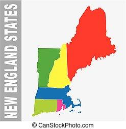 mappa, vettore, stati, politico, nuovo, amministrativo, colorito, inghilterra